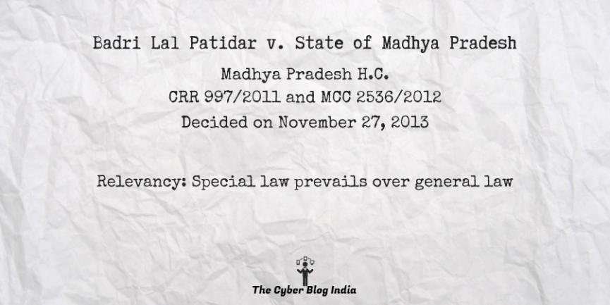 Badri Lal Patidar v. State of Madhya Pradesh