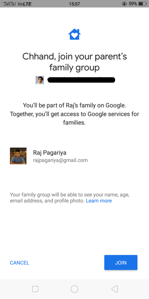Google Family Link for children and teens - Joining parent's family group