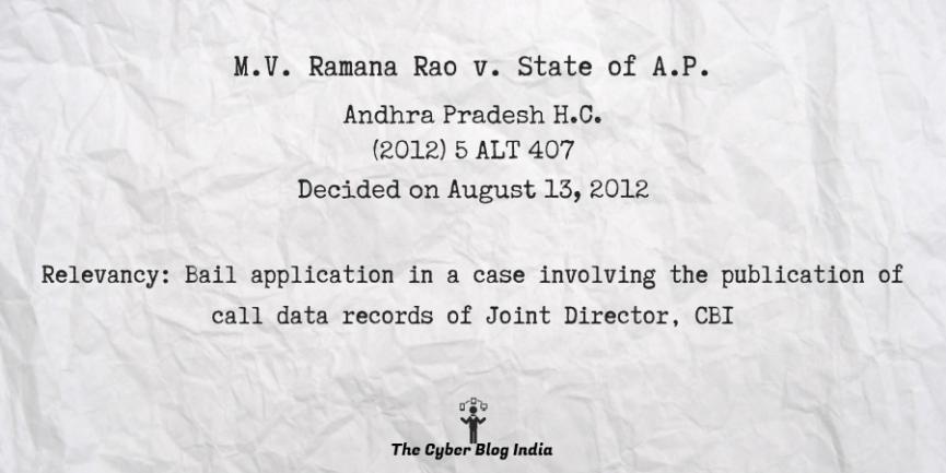 M.V. Ramana Rao v. State of A.P.