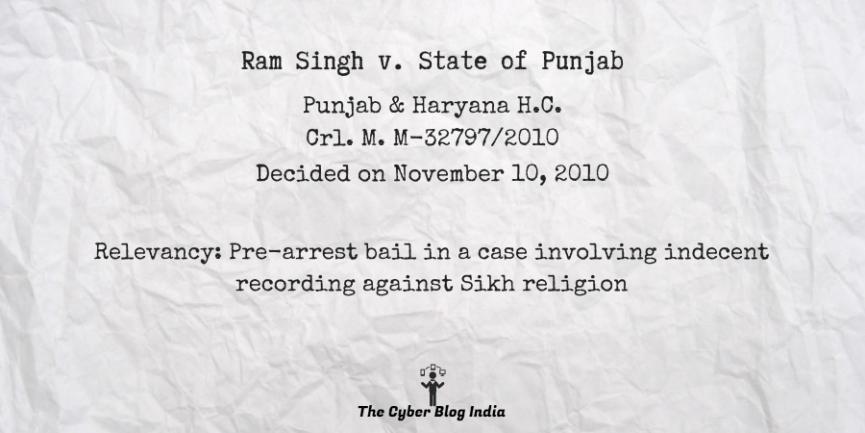 Ram Singh v. State of Punjab