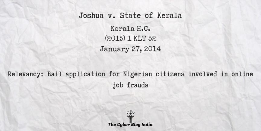 Joshua v. State of Kerala