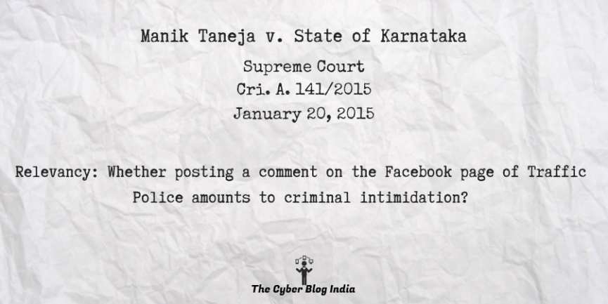 Manik Taneja v. State of Karnataka