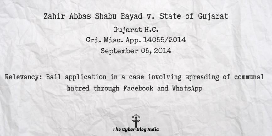 Zahir Abbas Shabu Bayad v. State of Gujarat
