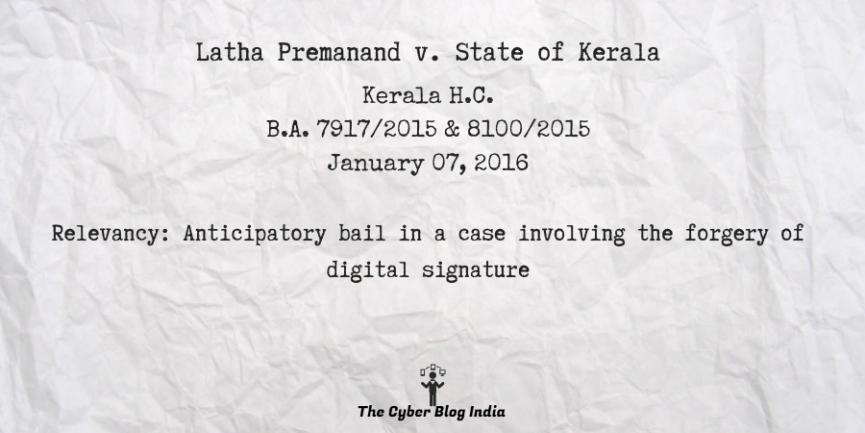 Latha Premanand v. State of Kerala