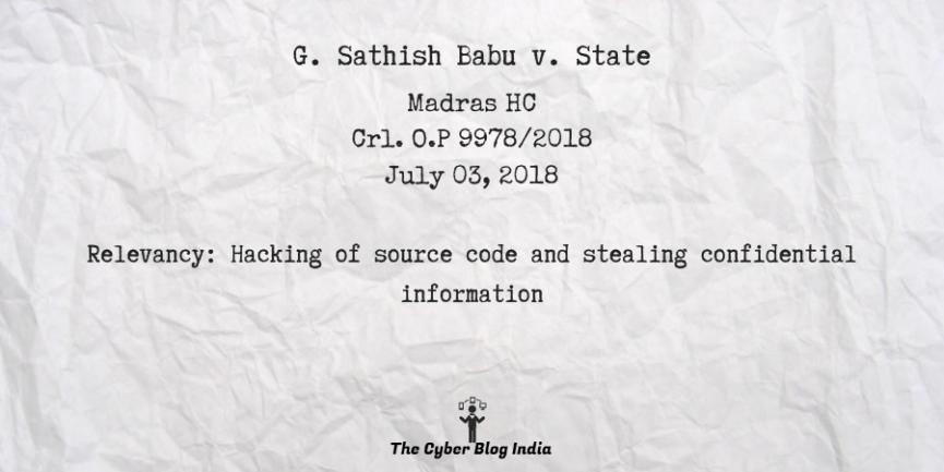 G. Sathish Babu v. State