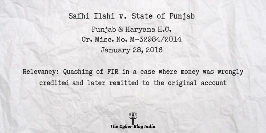 Safhi Ilahi v. State of Punjab