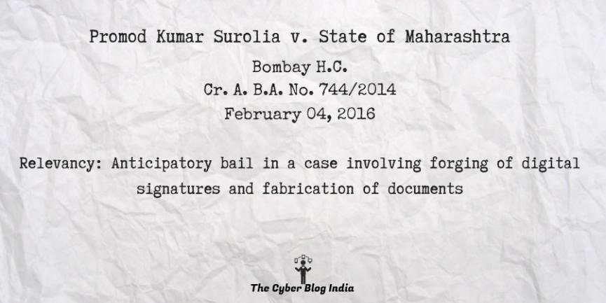 Promod Kumar Surolia v. State of Maharashtra