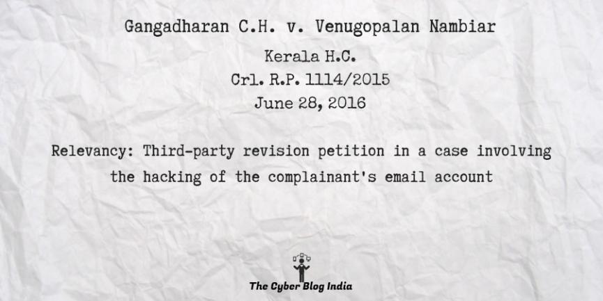 Gangadharan C.H. v. Venugopalan Nambiar