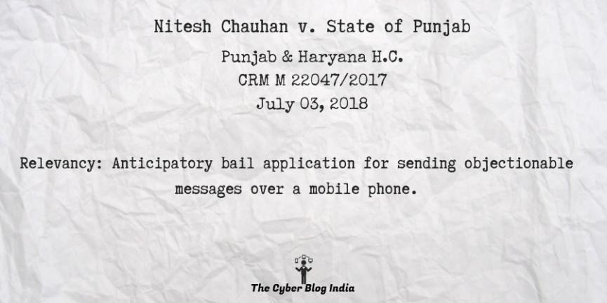 Nitesh Chauhan v. State of Punjab