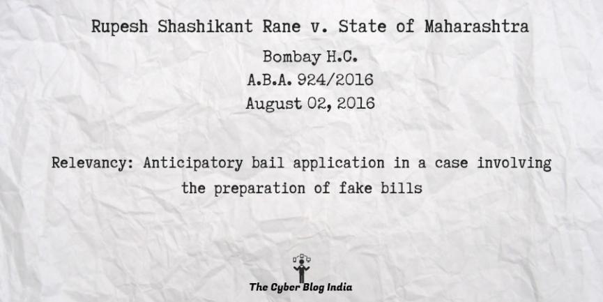 Rupesh Shashikant Rane v. State of Maharashtra