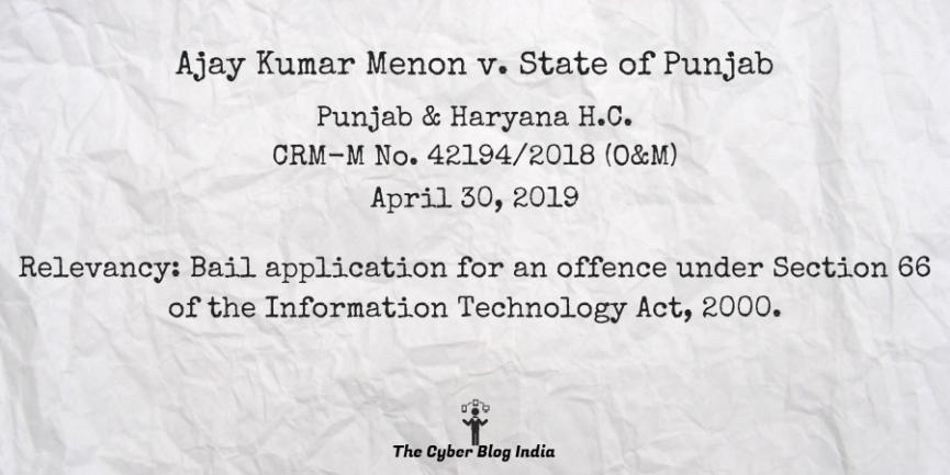 Ajay Kumar Menon v. State of Punjab