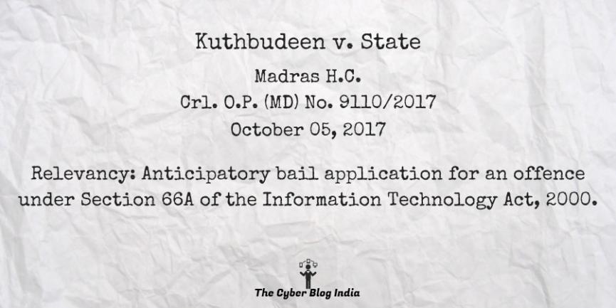 Kuthbudeen v. State