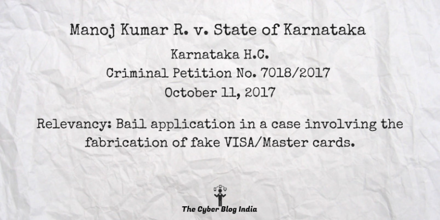 Manoj Kumar R. v. State of Karnataka