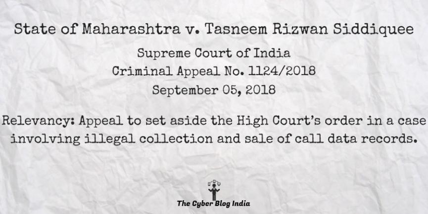 State of Maharashtra v. Tasneem Rizwan Siddiquee