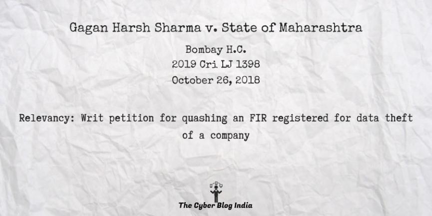 Gagan Harsh Sharma v. State of Maharashtra