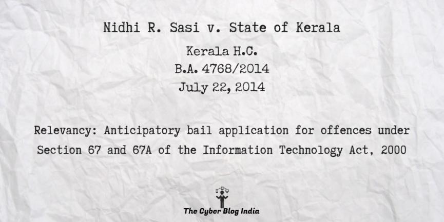Nidhi R. Sasi v. State of Kerala