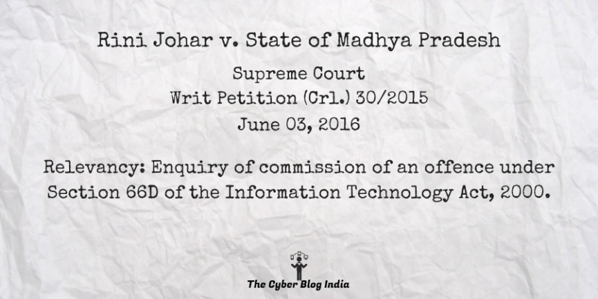 Rini Johar v. State of Madhya Pradesh