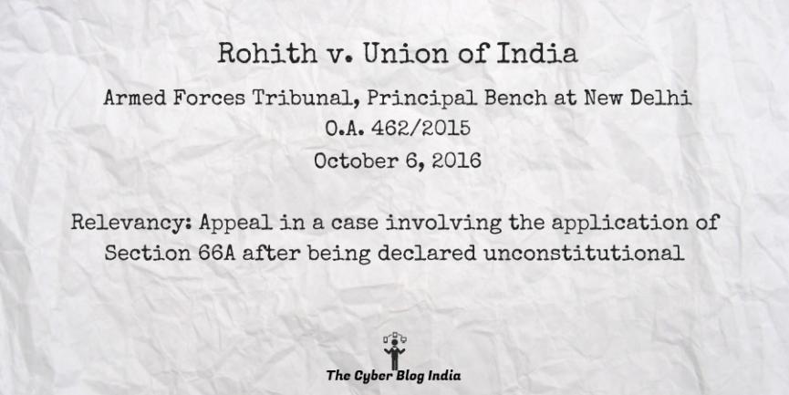Rohith v. UOI
