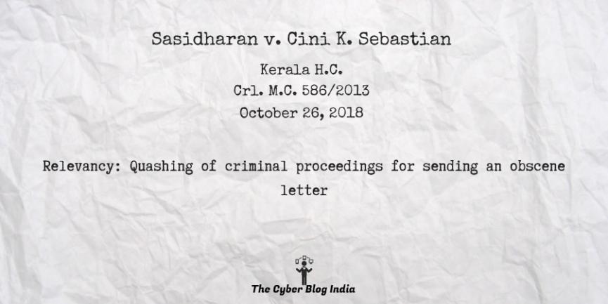 Sasidharan v. Cini K. Sebastian
