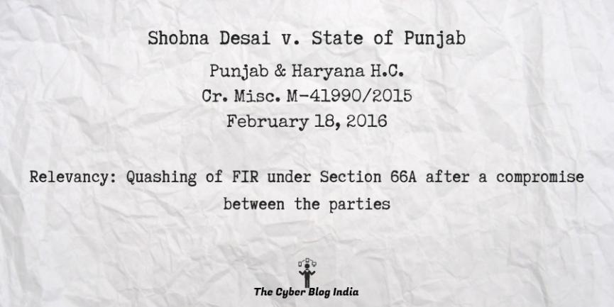 Shobna Desai v. State of Punjab