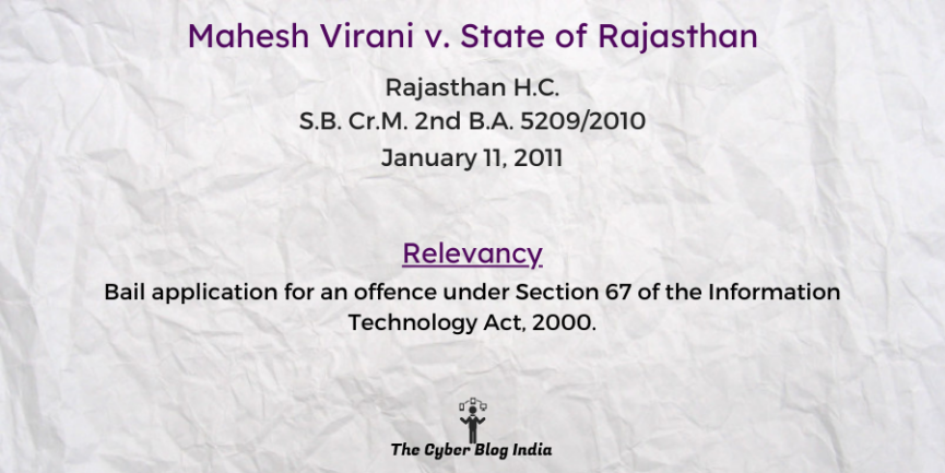 Mahesh Virani v. State of Rajasthan