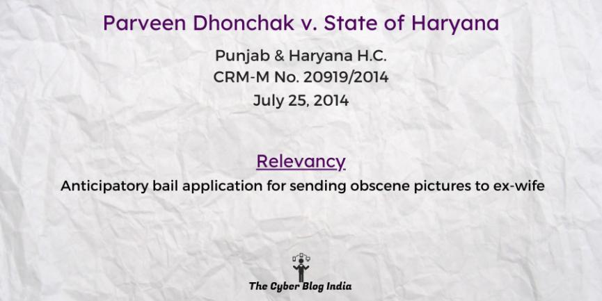 Parveen Dhonchak v. State of Haryana