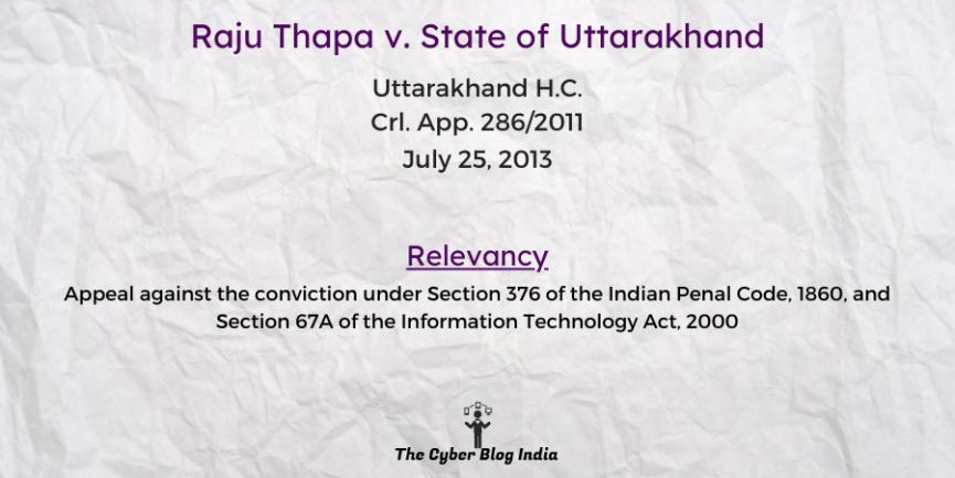 Raju Thapa v. State of Uttarakhand