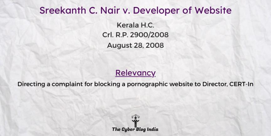 Sreekanth C. Nair v. Developer of Website