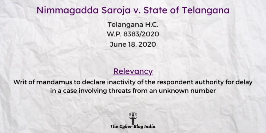 Nimmagadda Saroja v. State of Telangana
