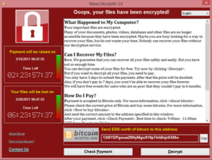 Ransom Screen for WannaCry Ransomware