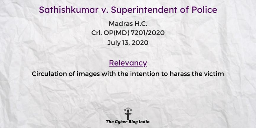 Sathishkumar v. Superintendent of Police