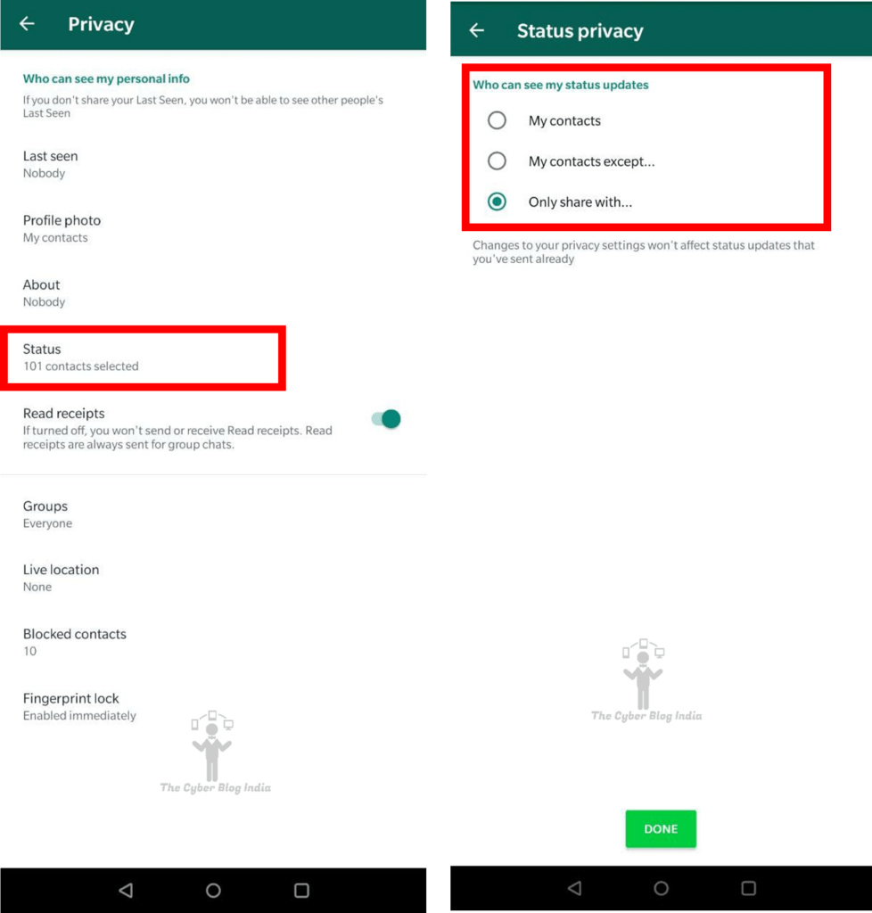 Status privacy on WhatsApp