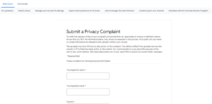 YouTube: Submit a Privacy Complaint Form