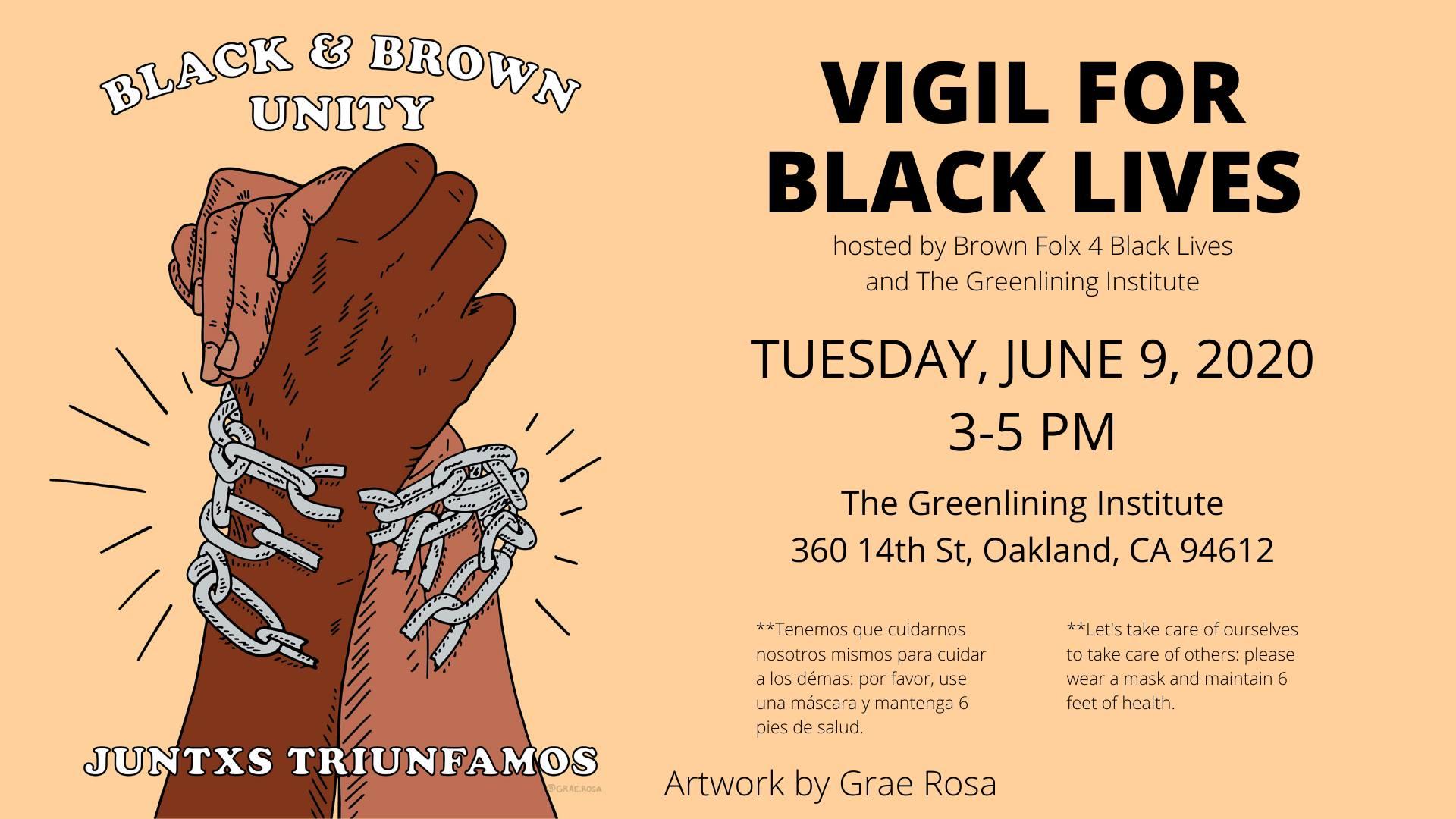 Flyer for Vigil for Black Lives