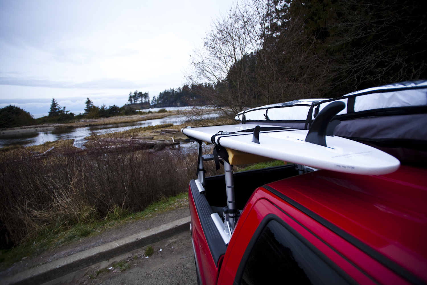 Tom Hanny surfing a stand up paddleboard, Crescent Beach, Salt Creek Recreational Area, Port Angeles, WA USA
