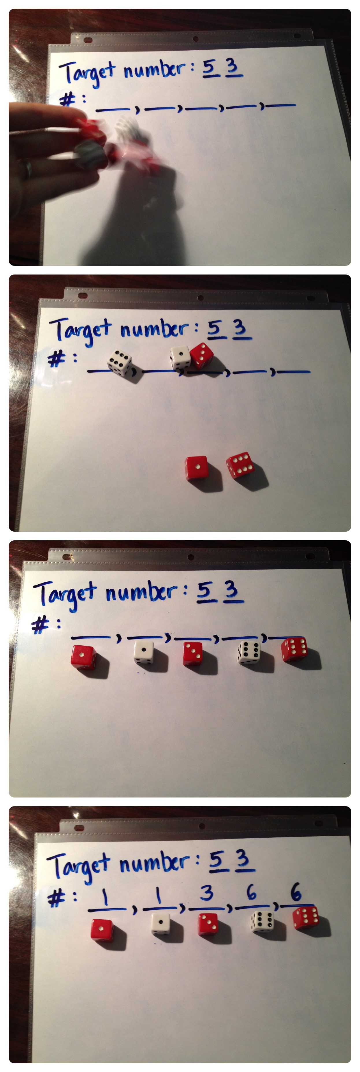 Roll the dice to find the 5 numbers to use