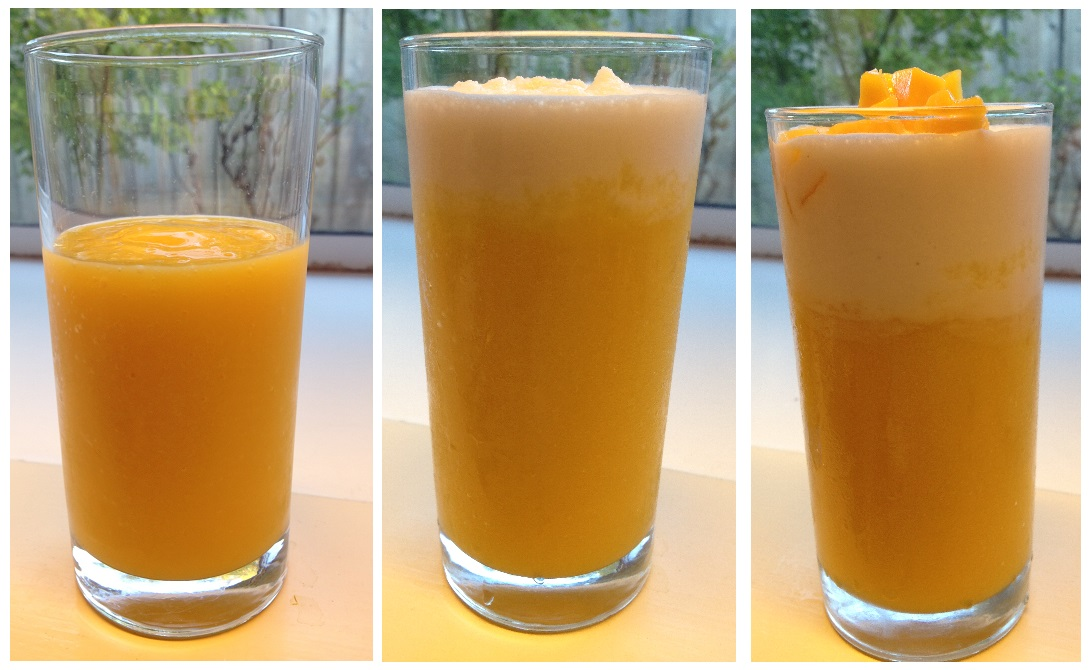 three layers for mango drink