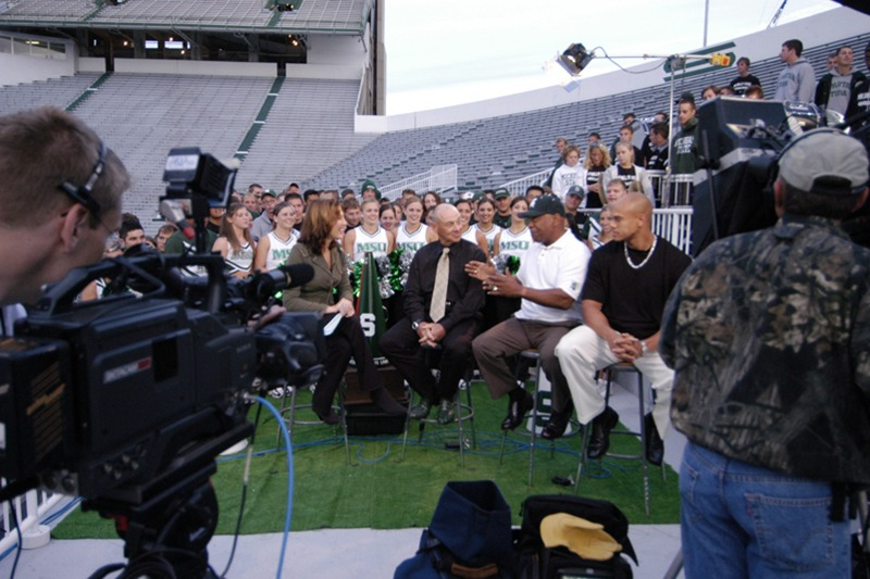 """Future Media Corporation provided location video, audio and lighting services for ESPN's live program """"Cold Pizza"""" at Michigan State University's football stadium."""