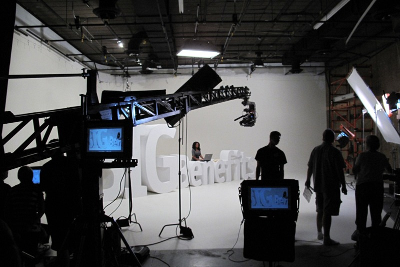 ZimmerFish and production crew on set at Future Media Corporation's studio for a series of branding television spots for Cleary University.
