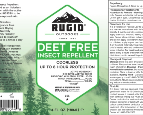 mosquito repellent lotion product label