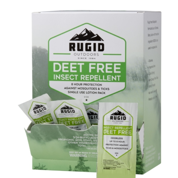 box of rugid deet free insect repellent single use foil packs