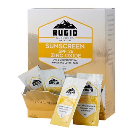 box of rugid single use zinc oxide sunscreen foil packs