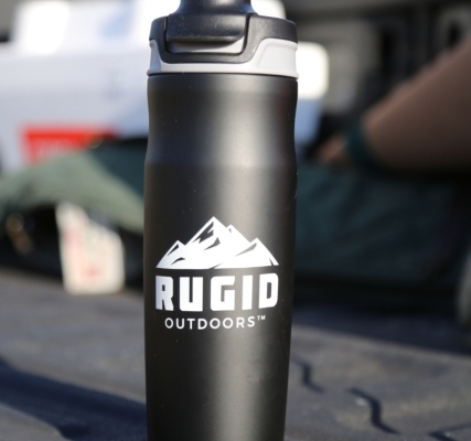 stainless steel water bottle close up shot