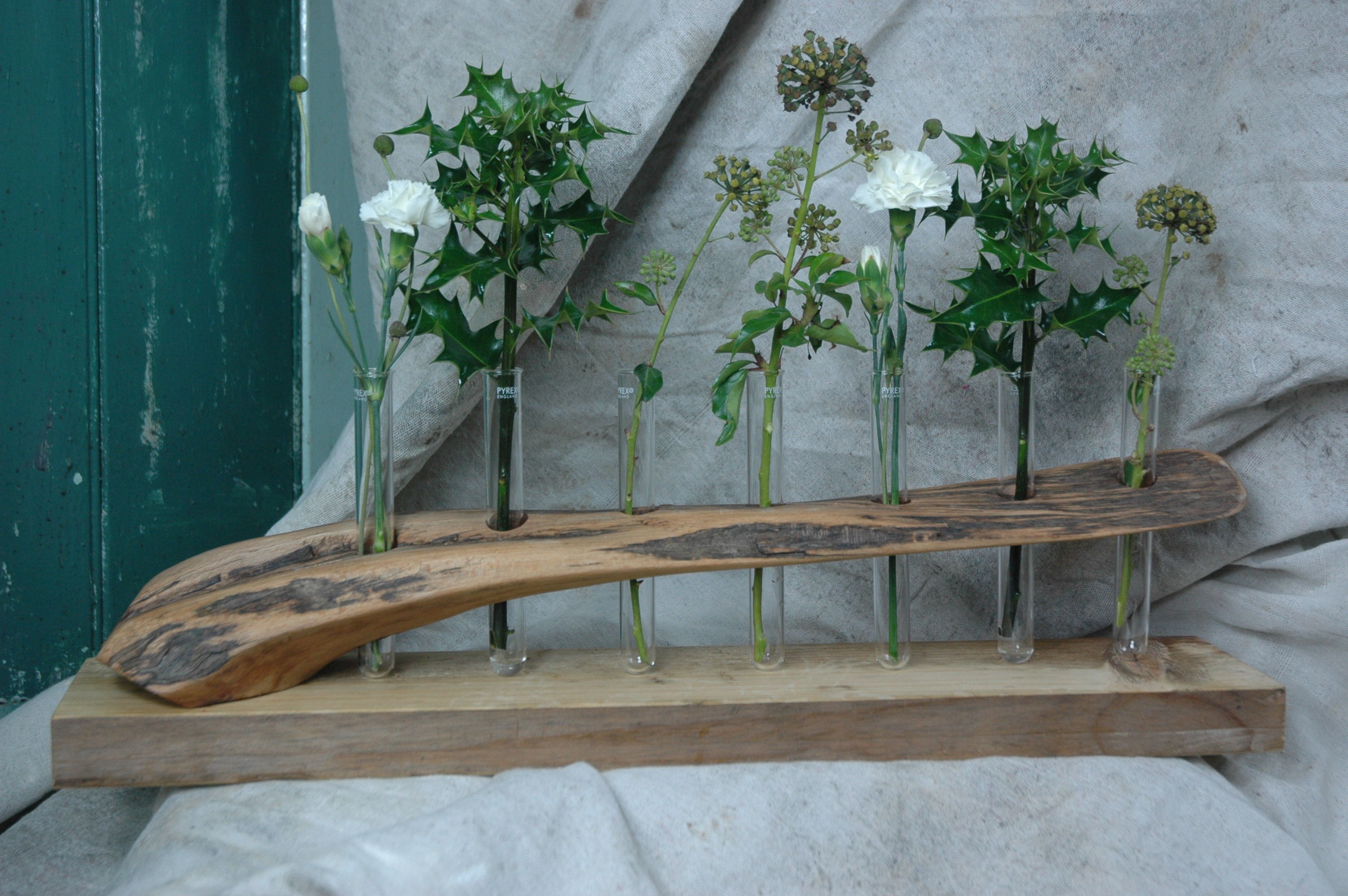 Found wood modern rustic flower test tube holder table centre piece