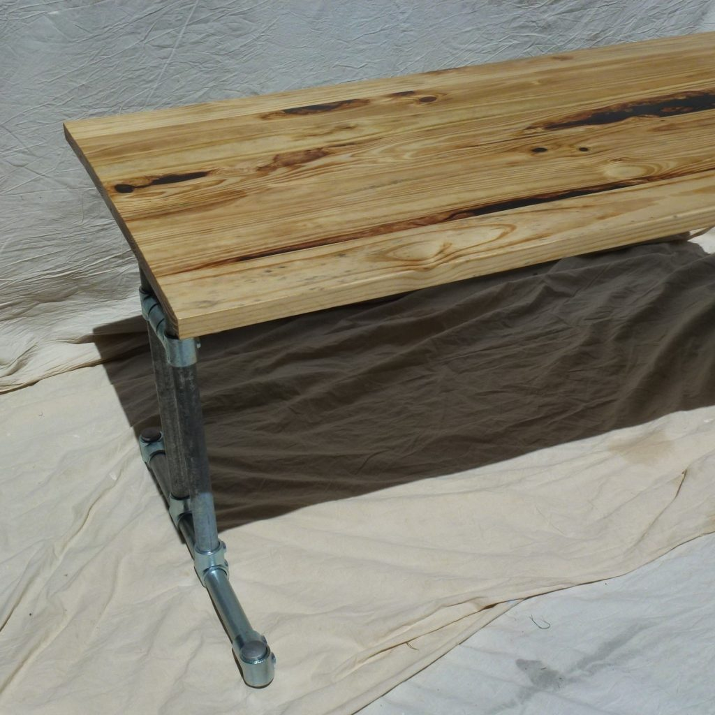 Industrial Steel Dining Table with Reclaimed Wood Top