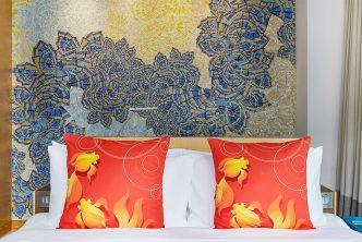Goldfish cushions for sale at the Hotel Indigo Hong Kong