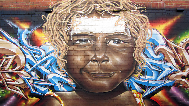 A mural within Lismore's Back Alley Art Gallery