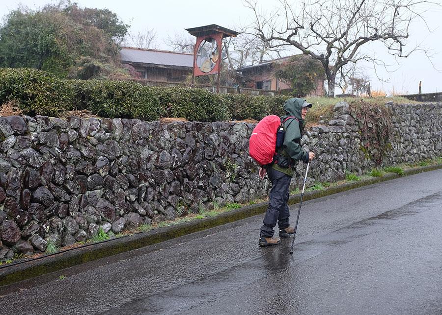 A modern pilgrim walking the Kumano Kodo between Hosshinmon-Oji and Hongu Taisha