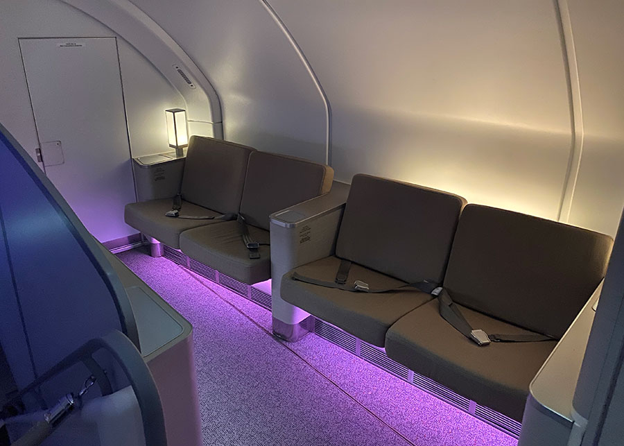 The Business Class in-flight lounge area. Credit: Chris Ashton