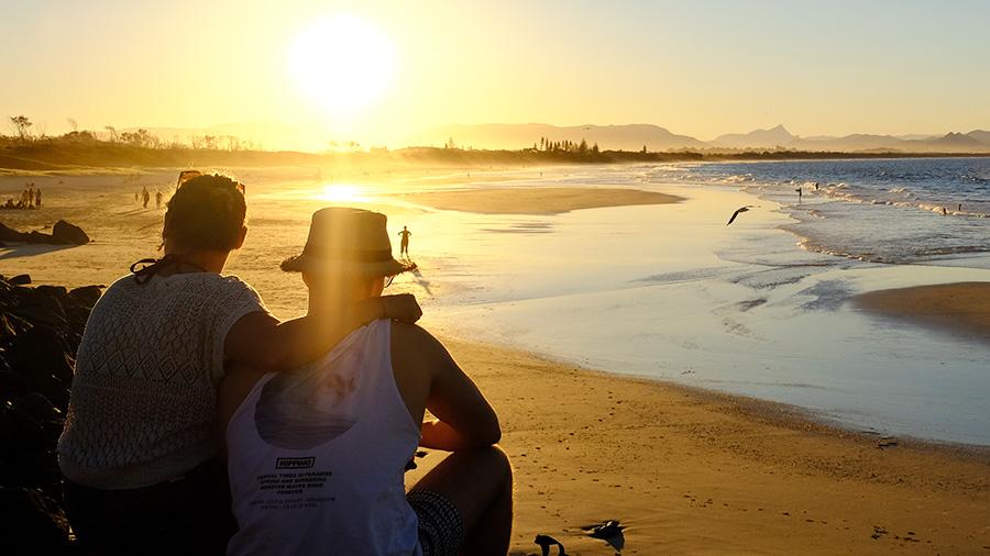 Sunset over Belongil Beach. Credit: Chris Ashton